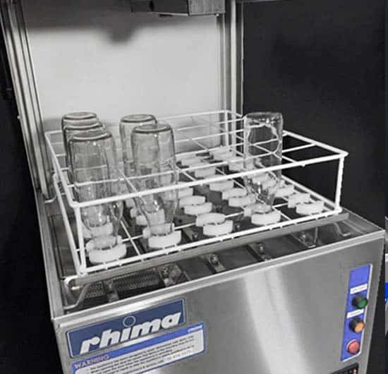 pass through bottle washer with rack and bottles